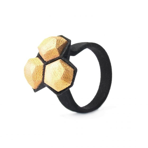 RADIAN | Calyx ring, 3d printed nylon and stainless steel, gold plated