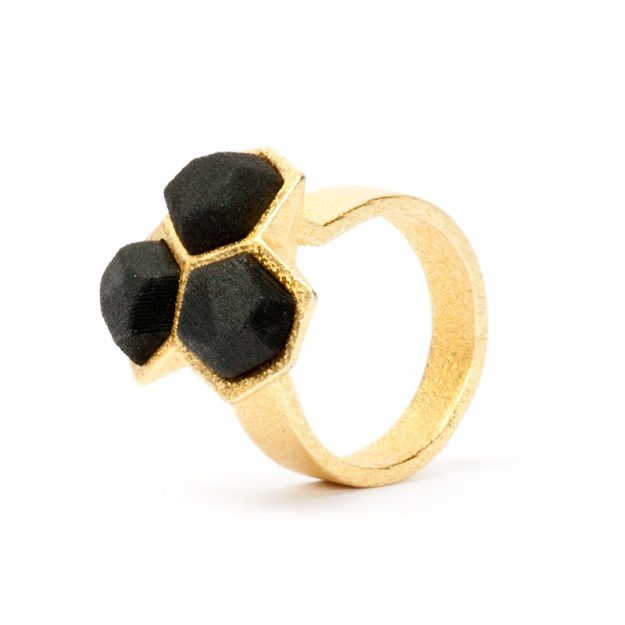 NITZ & SCHIECK | Calyx ring No. 1, 3d printed stainless steel, gold plated and black nylon