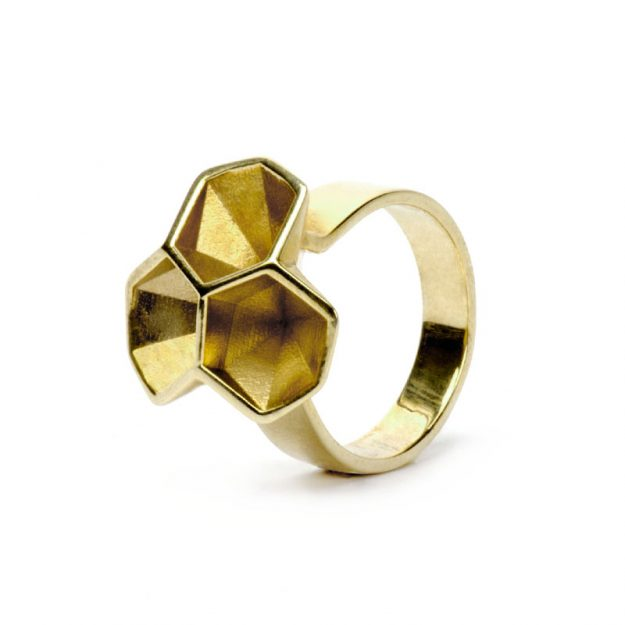 RADIAN | Calyx ring No. 2, brass, gold plated, 3d printed wax - then cast