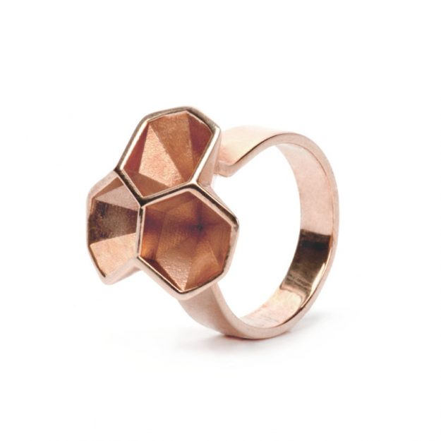 NITZ & SCHIECK | Calyx ring No. 2, brass, rose gold plated, 3d printed wax - then cast