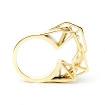 RADIAN | Solitaire ring, brass 14k gold plated, 3d printed wax - then cast