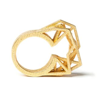 RADIAN | Solitaire ring, 3d printed stainless steel, gold plated