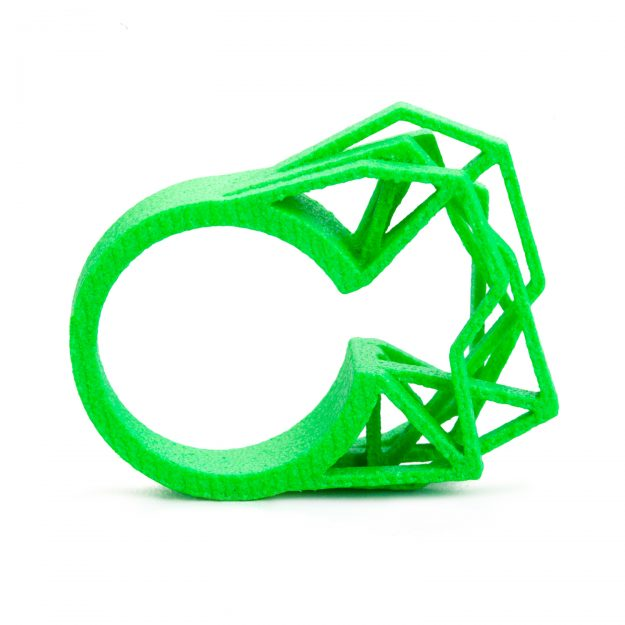 3d printed ring Solitaire by RADIAN jewelry in neon green
