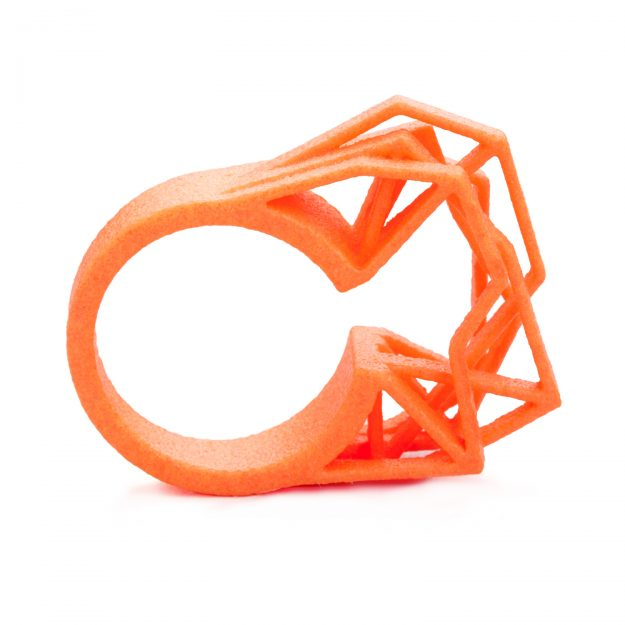 3d printed ring Solitaire by RADIAN jewelry in neon orange