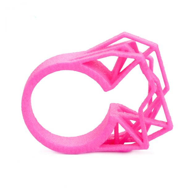 3d printed ring Solitaire by RADIAN jewelry in neon pink