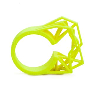 3d printed ring Solitaire by RADIAN jewelry in neon yellow