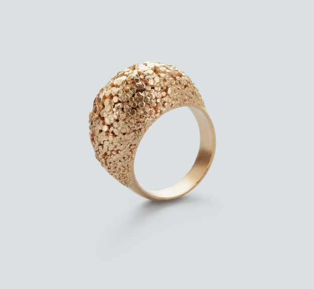3d printed Crystal ring by RADIAN jewelry - gold plated brass