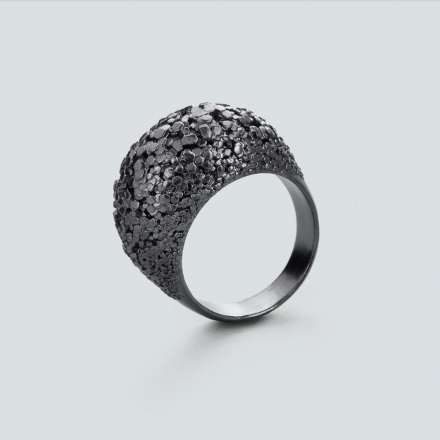 3d printed Crystal ring by RADIAN jewelry - 925 silver, black rhodium