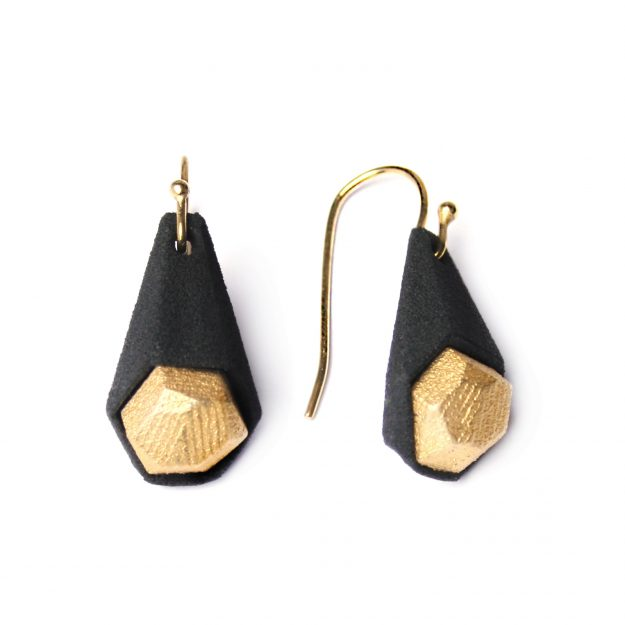 RADIAN | Calyx earrings, 3d printed nylon and stainless steel, gold plated
