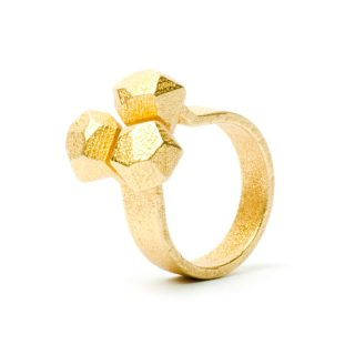 RADIAN | Calyx ring No. 3, 3d printed stainless steel, gold plated
