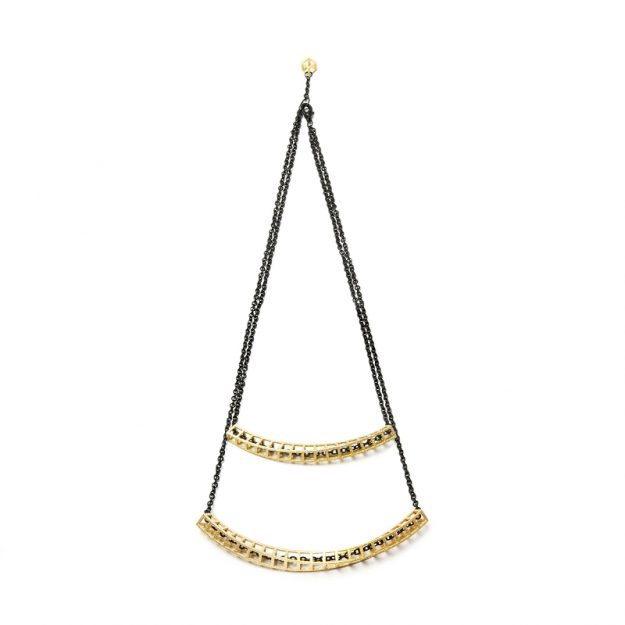 RADIAN | Cubetwist necklace, 3d printed stainless steel, gold plated