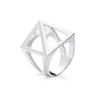RADIAN | Nefertiti pyramid ring, 3d printed then cast, 925 silver