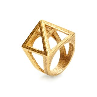 RADIAN | Nefertiti ring, 3d printed stainless steel, gold plated