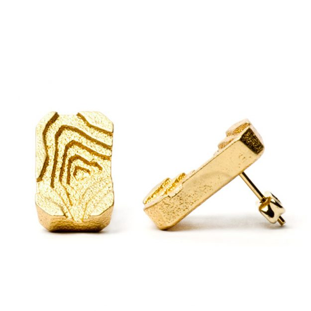 RADIAN | Pit earrings, 3d printed stainless steel, gold plated