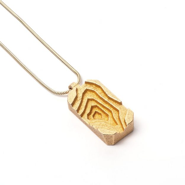 RADIAN | Pit necklace, 3d printed stainless steel, gold plated