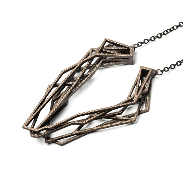 NITZ & SCHIECK | Solitaire necklace, 3d printed stainless steel, bronze plated