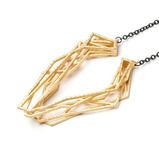 NITZ & SCHIECK | Solitaire necklace, 3d printed stainless steel, gold plated