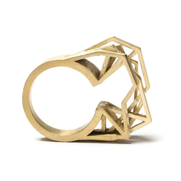 RADIAN | Solitaire ring, brass PU coated, 3d printed wax - then cast