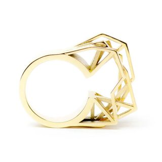 RADIAN | Solitaire ring, brass 23,5k gold plated, 3d printed wax - then cast