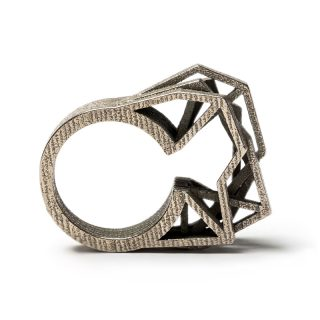 RADIAN | Solitaire ring, 3d printed stainless steel