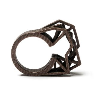 RADIAN | Solitaire ring, 3d printed stainless steel, bronze plated